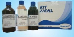 KIT DE COLORAÇÂO ZIEHL-NEELSEN com 3 Frascos de (Fucsina Fenicada,Álcool-Ácido,Azul de Metileno), 500ml